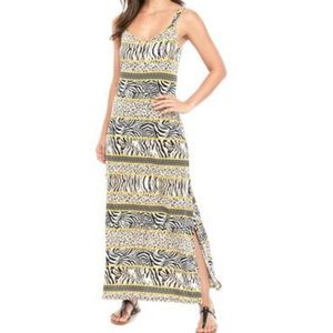 3 for $13! NWT MSK Yellow Animal Print Maxi Dress
